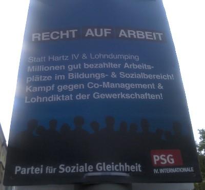 Wahlplakat PSG Berlin - Recht auf Arbeit
