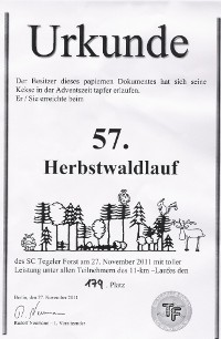 Urkunde Herbstwaldlauf