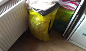 Foto von einem gelben Müllbeutel