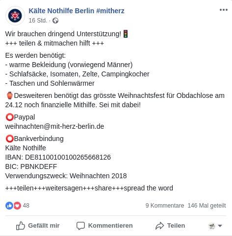 Bild Facebookpost Kälte Nothile