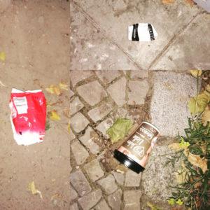 Drei Stücken Abfall von Mittwoch